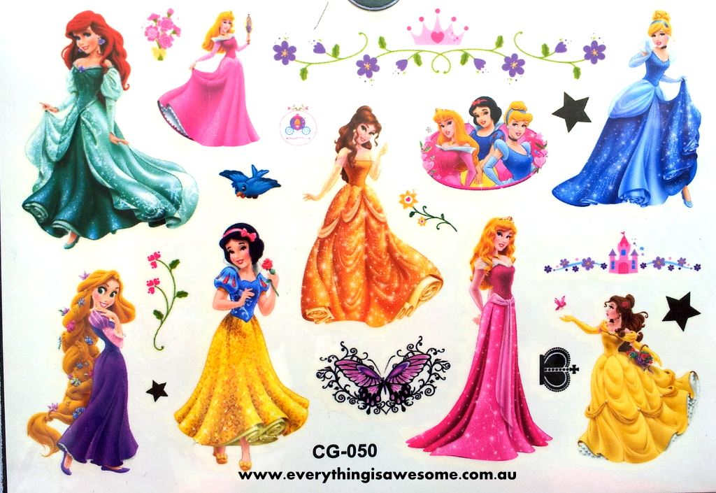 Everything is awesome new disney princess temporary tattoo for Disney temporary tattoos