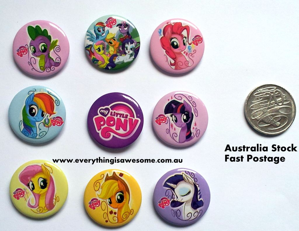 everything is awesome my little pony button pins badges set of 9