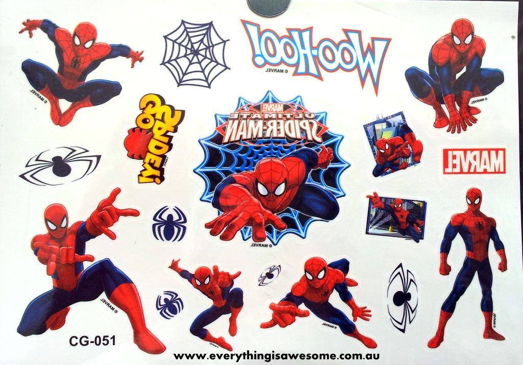 Everything is awesome spiderman temporary tattoo for Superhero temporary tattoos