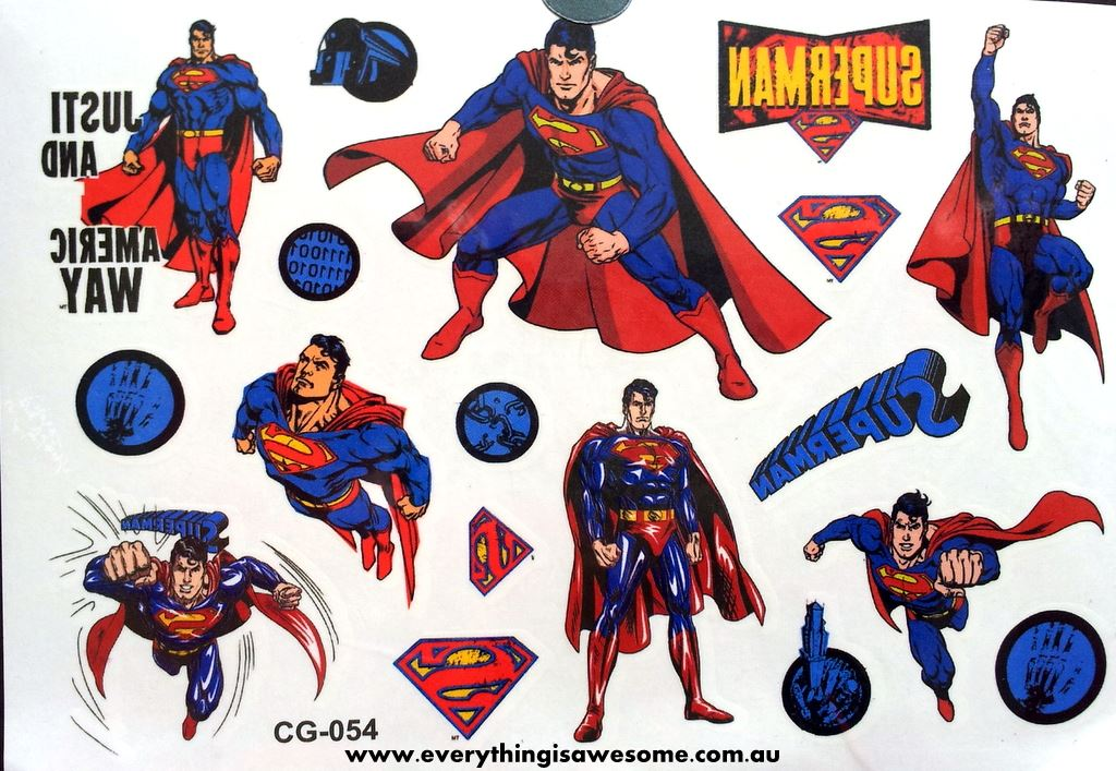 Everything is awesome superman temporary tattoo for Superhero temporary tattoos