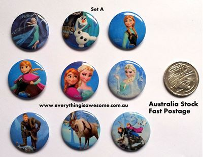 Picture of Disney Frozen A Button Pins Badges Set of 9 - Party Favours