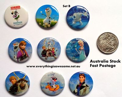 Picture of Disney Frozen B Button Pins Badges Set of 9 - Party Favours