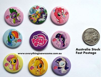 Picture of My Little Pony Button Pins Badges Set of 9 - Party Favours