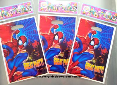 Picture of Spiderman Superhero Lolly/Loot Treat Party Bag - Set of 10