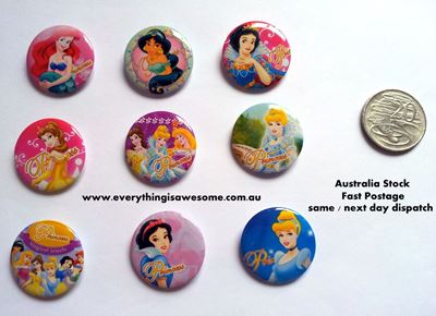 Picture of Disney Princess Button Pins Badges Set of 9 - Party Favours