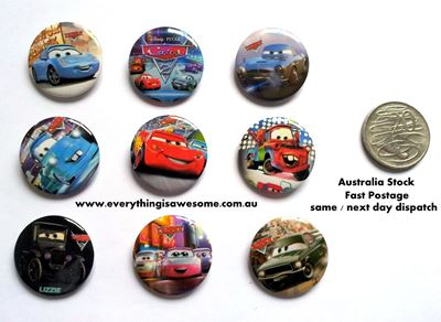 Picture of Disney Cars Button Pins Badges Set of 9