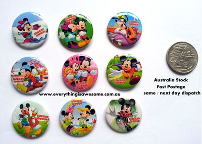 Picture of Mickey Mouse Button Pins Badges Set of 9 - Party Favours