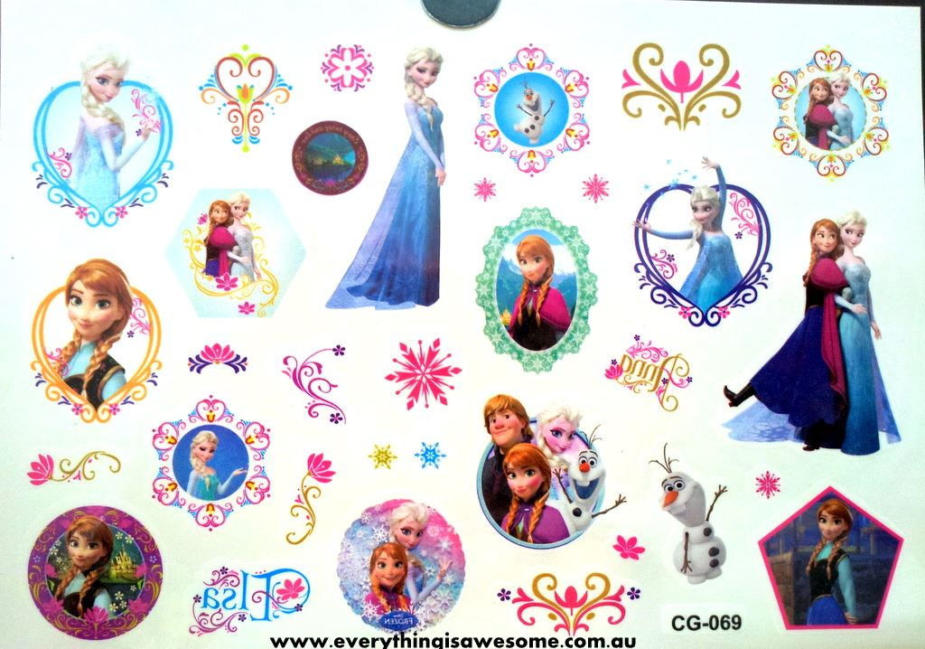 Everything is awesome disney frozen temporary tattoo cg 069 for Disney temporary tattoos