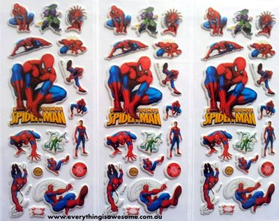 Picture of Mixed Design New Spiderman Puffy Stickers