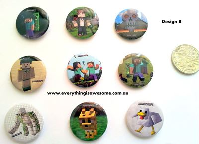 Picture of New Minecraft Button Pins Badges Design B Set of 9