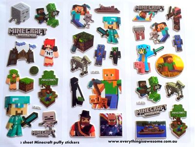 Picture of Set of 10 Sheets Minecraft Puffy Sticker Design A