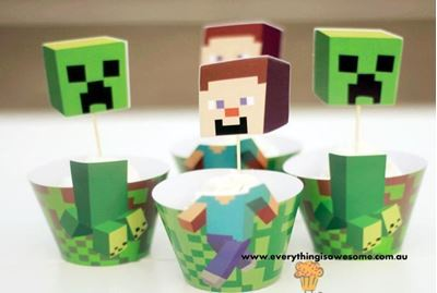 Picture of New 12 pcs Minecraft Cake Cupcake Wrapper and Topper