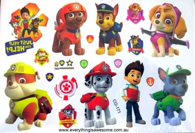 Everything is awesome paw patrol temporary tattoo cg 171 for Paw patrol tattoos