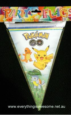 Picture of Pokemon birthday party banner bunting flags Design B