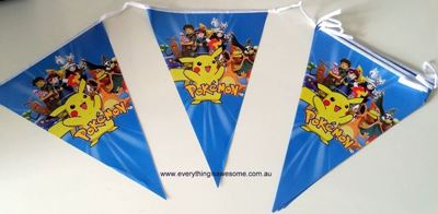 Picture of Pokemon birthday party banner bunting flags Design A