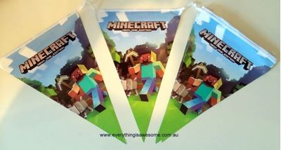 Picture of New Minecraft Birthday Party Decoration Banner Bunting Flags Design B