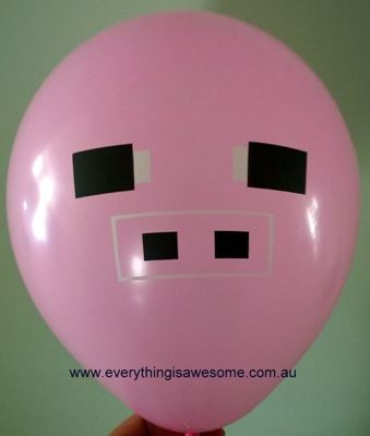 Picture of New 10 pcs Minecraft Pig Pink Balloons
