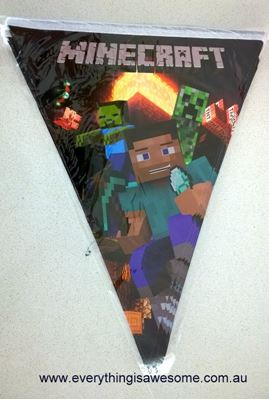 Picture of New Minecraft Birthday Party Decoration Banner Bunting Flags Design A