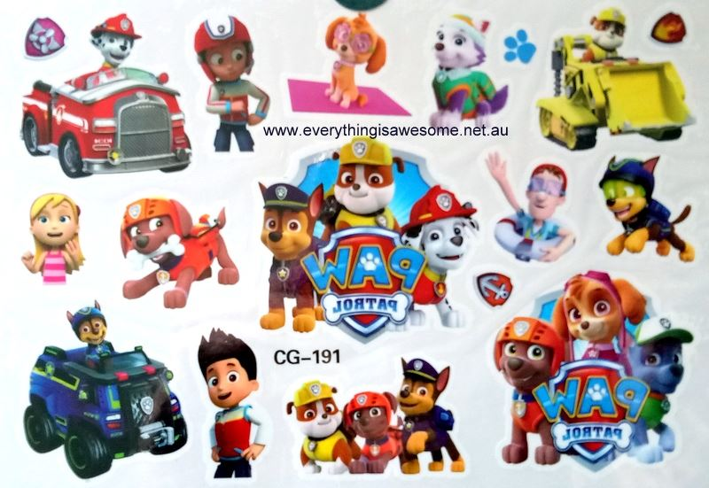 Everything is awesome paw patrol cg 191 temporary tattoo for Paw patrol tattoos