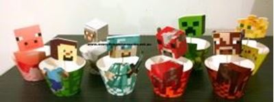 Picture of New 16 pcs Minecraft Cake Cupcake Wrappers and Toppers
