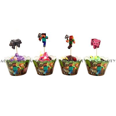 Picture of New 12 pcs Minecraft Cake Cupcake Wrapper and Topper Design A